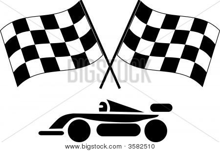 Auto Racing Checkered Flags on Checkered Flags And Race Car Stock Photo   Stock Images   Bigstock