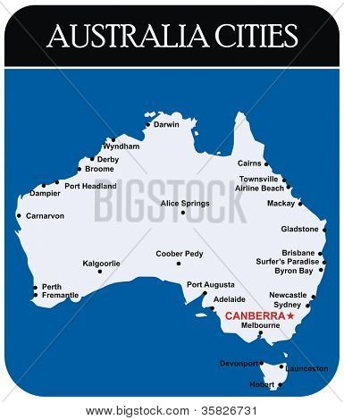 Australia Cities Map