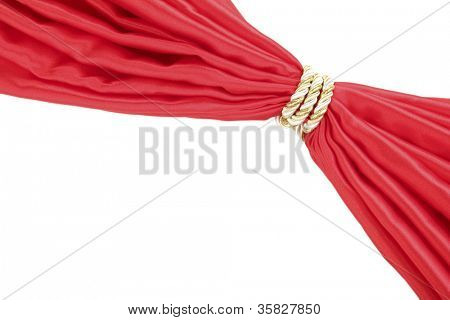 Red cloth tied with rope isolated on white