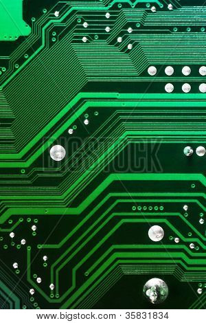Green computer motherboard background