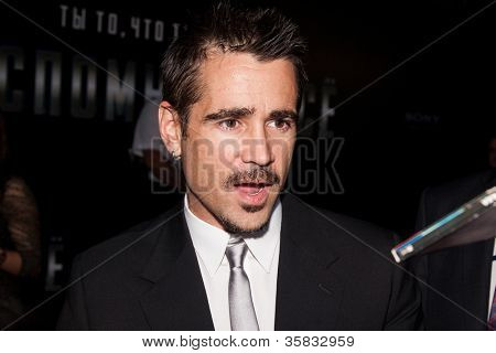 """MOSCOW, RUSSIA, AUGUST, 8: Actor Colin Farrell. Premiere of the movie """"Total Recall"""", August,8, 2012 at OCTOBER CINEMA  in Moscow, Russia"""