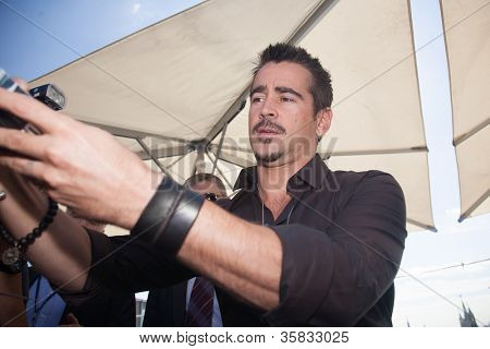 """MOSCOW, RUSSIA, AUGUST, 8: Actor Colin Farrell. Premiere of the movie """"Total Recall"""", August,8, 2012 at RITZ HOTEL in Moscow, Russia"""