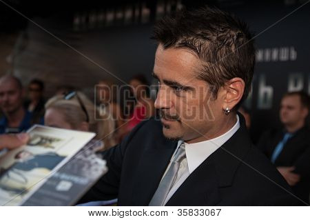 "MOSCOW, RUSSIA, AUGUST, 8: Actor Colin Farrell. Premiere of the movie ""Total Recall"", August,8, 2012 at OCTOBER CINEMA  in Moscow, Russia"