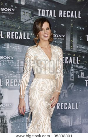 BERLIN, GERMANY - AUGUST 13: Kate Beckinsale at the German premiere of 'Total Recall' at Sony Center on August 13, 2012 in Berlin, Germany