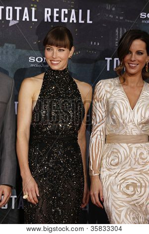 BERLIN, GERMANY - AUGUST 13: Jessica Biel, Kate Beckinsale at the German premiere of 'Total Recall' at Sony Center on August 13, 2012 in Berlin, Germany
