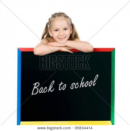 beautiful little girl on a board. stodio shot