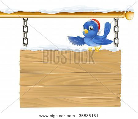 Bluebird Christmas Sign
