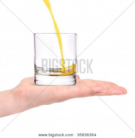 Fresh Orange Juice Pouring In To The Glass With Hand Isolated