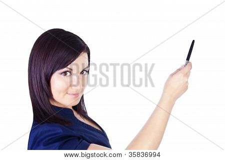 Woman Pointing And Making Presentation Over White