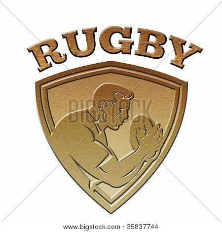 Rugby Player Shield Metallic Gold