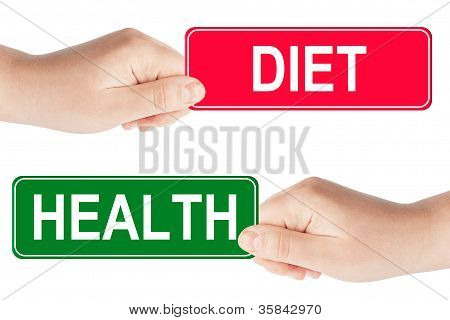 Diet And Health Traffic Sign In The Hand