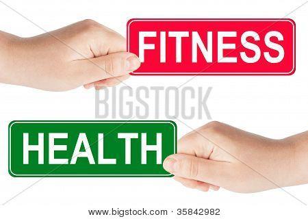 Fitness y salud tráfico firman en la mano