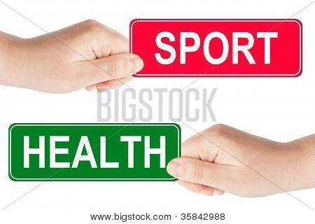 Sport und Gesundheit Verkehrszeichen in der hand