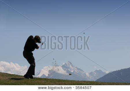 Golfer In Crans-Montana, Switzerland, Hole 12