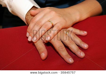 Bride And Groom's Hands Showing Off Their Rings