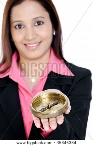 Business Woman Holding A Compass