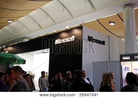 Hannover, Germany - March 10: Stand Of Microsoft On March 10, 2012 At Cebit Computer Expo, Hannover,