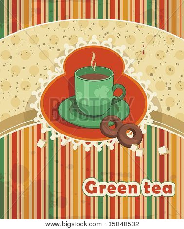 Abstract Elegance food background, Vector illustration with green tea.