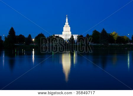 Idaho Falls Temple next to Snake River in Idaho Falls, Idaho