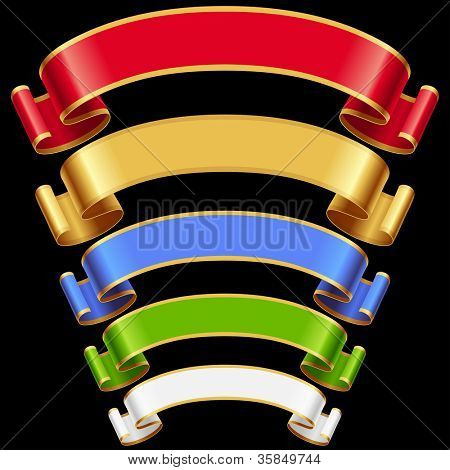 Vector Ribbons set 6. Multicolored banners isolated on black background