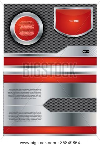 Abstract metallic vector brochure with steel and red colors, two sided design
