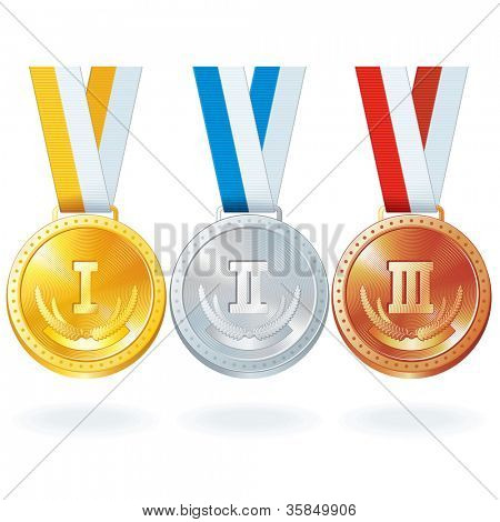 Three Vector Medals. Gold, Silver and Bronze