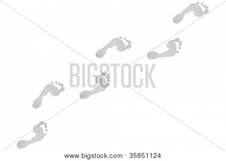 Six grey footprints against a white background