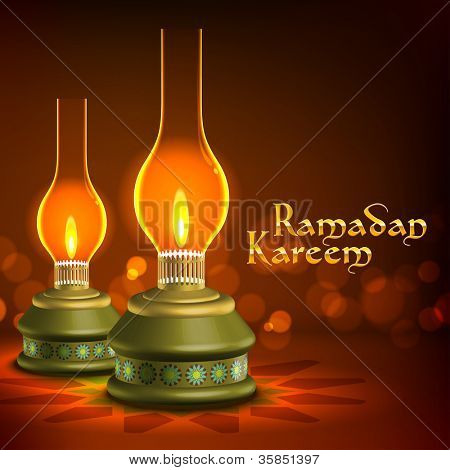 Muslim Oil Lamp - Pelita Translation: Ramadan Kareen - May Generosity Bless You During The Holy Month