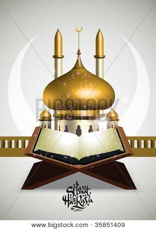 Muslim Ramadan Element Translation of Malay Text: Peaceful Celebration of Eid ul-Fitr, The Muslim Festival that Marks The End of Ramadan