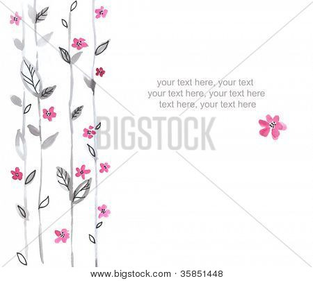 Watercolor card with stylized flowers