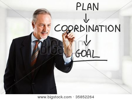 Experienced businessman writing management concepts on the screen
