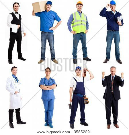 Collection of full length portraits of workers
