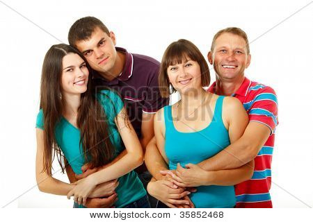 Happy two generation caucasian family having fun and smiling over white