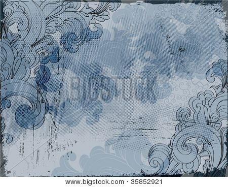 Vintage Swirly Collage - multilayer collage background, with hand drawn swirls and worn edges, in neutral grays, blue and black
