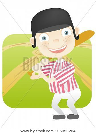 Cartoon Character Cute Teenager Isolated on White Background. Baseball. Vector EPS 10.