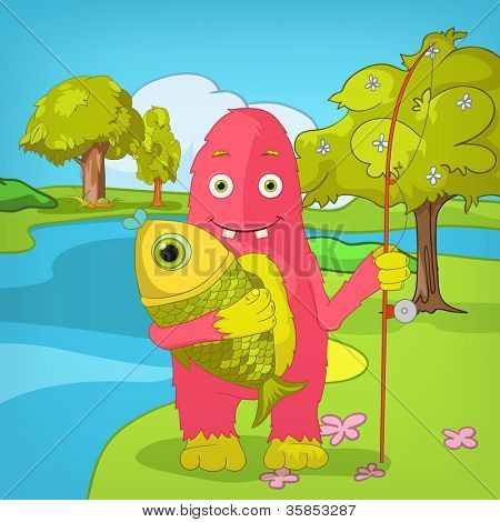 Cartoon Character Funny Monster on Nature Gradient Background. Fisherman. Vector EPS 10.
