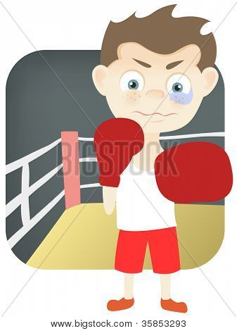 Cartoon Character Cute Teenager Isolated on White Background. Boxing. Vector EPS 10.