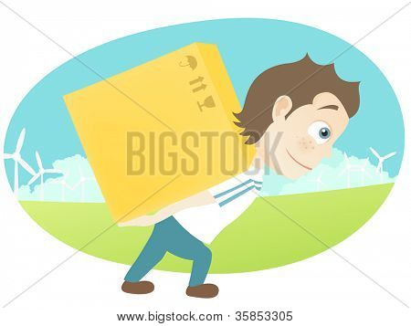 Cartoon Character Cute Teenager Isolated on White Background. Delivery. Vector EPS 10.