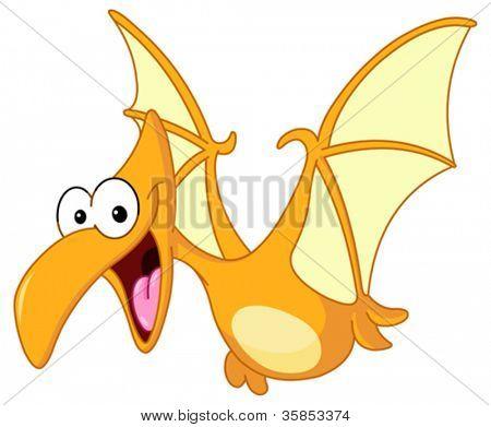Dinossauro pterodáctilo voando