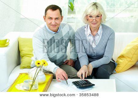 Porträt von reifer Mann und seine Frau, Blick in die Kamera gleichzeitig finanzielle Überarbeitung zu Hause
