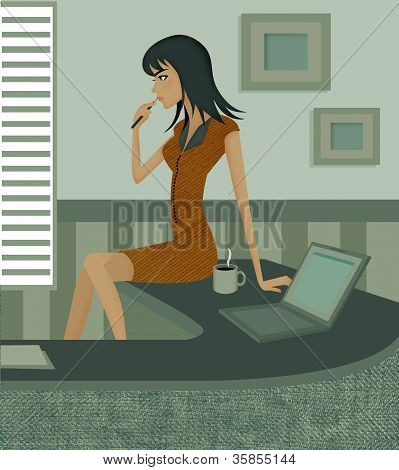 Side View Of A Woman Biting Pen While Sitting On Desk Beside A Coffee Mug And Laptop