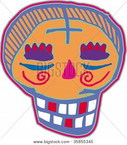 Orange And Purple Skull Smiling