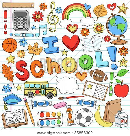 I Love School Classroom Supplies Notebook Doodles Hand-Drawn Illustration Design Elements on Lined Sketchbook Paper Background