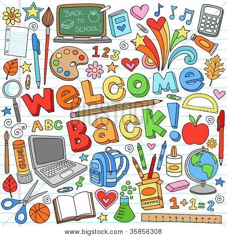 Welcome Back to School Classroom Supplies Notebook Doodles Hand-Drawn Illustration Design Elements on Lined Sketchbook Paper Background