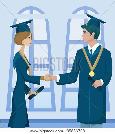 Two Students In Graduation Cap And Gown Holding Diplomas And Shaking Hands