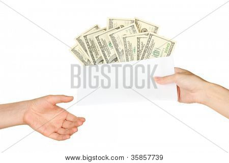 Woman's hand passes the envelope with the salary on white background