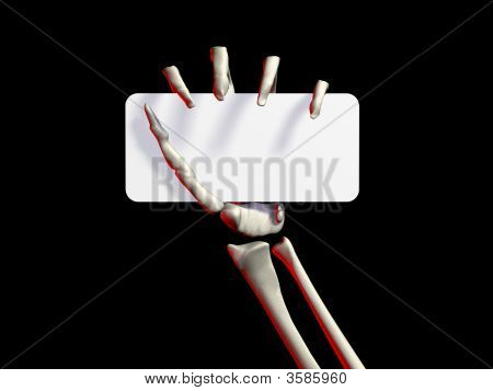 Mão de esqueletos segurando um cartão de visita preto