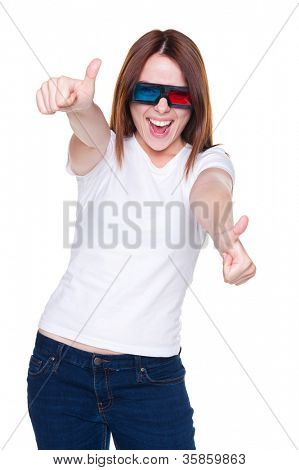 studio shot of happy emotional woman in 3d glasses showing thumbs up