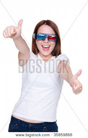 happy funny girl showing thumbs up and laughing. isolated on white background