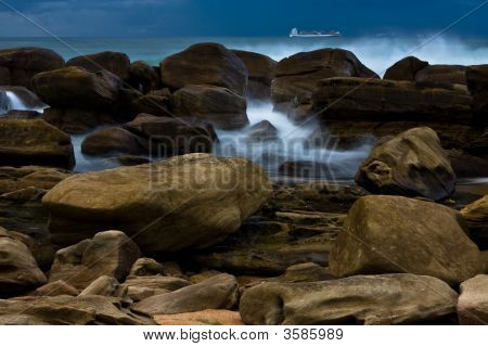 Rocks With Incoming Waves